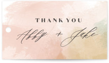 This is a pink wedding favor tag by Carrie ONeal called Morning Mist with standard printing on signature in tag.