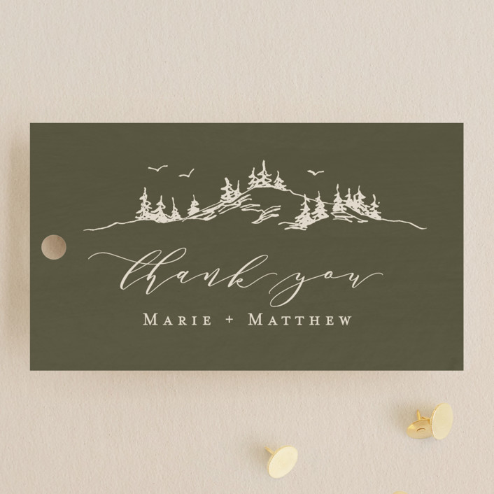 """into the mountains"" - Rustic Wedding Favor Tags in Olive by Helen Halik."