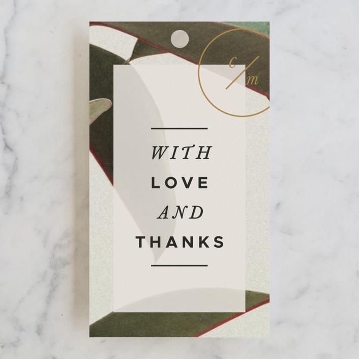 """Powder Room Florals"" - Wedding Favor Tags in Cream by Ariel Rutland."