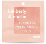 This is a pink wedding favor tag by Liz Conley called Contemporary with standard printing on signature in tag.