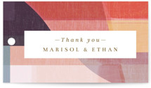 This is a orange wedding favor tag by Griffinbell Paper Co. called Edgewater with standard printing on signature in tag.