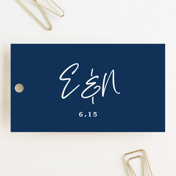 """""""Semi Formal"""" - Wedding Favor Tags in Navy by Paper Dahlia."""