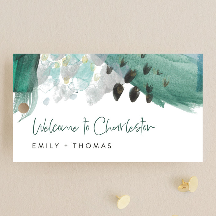 """Feathery Painted"" - Modern Wedding Favor Tags in Teal by Erika Firm."