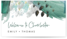This is a green wedding favor tag by Erika Firm called Feathery Painted with standard printing on signature in tag.