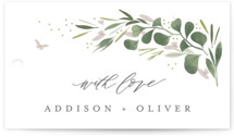 This is a white wedding favor tag by Kristie Kern called Garden Path with standard printing on signature in tag.