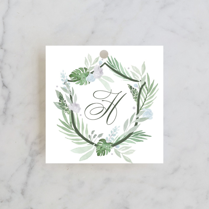 """Botanical Seal"" - Wedding Favor Tags in Pastel by Kristen Smith."