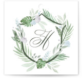 This is a green wedding favor tag by Kristen Smith called Botanical Seal with standard printing on signature in tag.