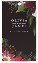 This is a red wedding favor tag by Susan Moyal called Midnight Botanicals with standard printing on signature in tag.