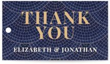 This is a blue wedding favor tag by GeekInk Design called Mosaic with standard printing on signature in tag.
