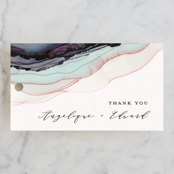 """Flow"" - Wedding Favor Tags in Amethyst by Three Kisses Studio."