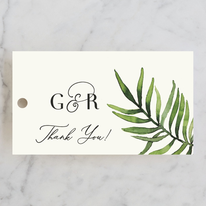 """""""Tropical Vows"""" - Wedding Favor Tags in Jade by Chris Griffith."""