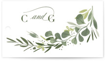 This is a green wedding favor tag by Kristie Kern called Ensconce with standard printing on signature in tag.