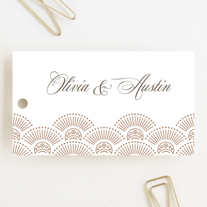 """""""Adorn"""" - Vintage Wedding Favor Tags in Chocolate by Kristen Smith."""