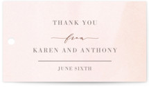 This is a brown wedding favor tag by Jackie Mangiolino called Other Half with standard printing on signature in tag.