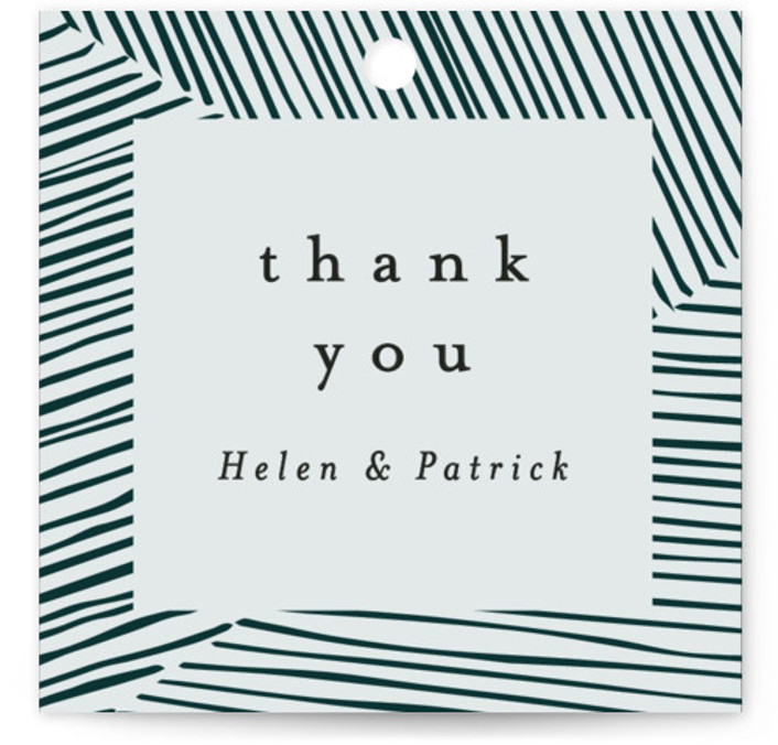 This is a portrait modern, green Wedding Favor Tags by Annie Shapiro called Lineup with Standard printing on Signature in Tag Flat Card format. Add the perfect finishing touch to all of your wedding gifts with these chic and customizable ...