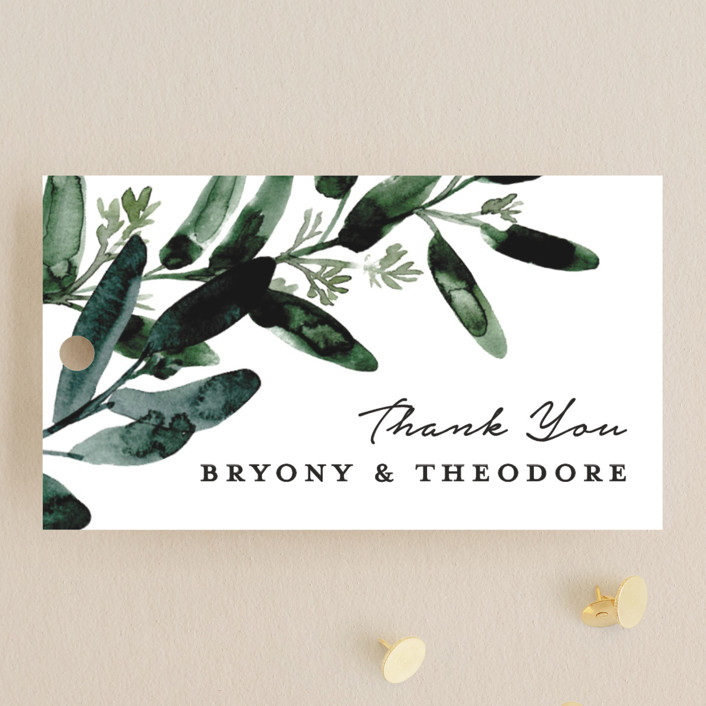 """Gilded Eucalyptus"" - Wedding Favor Tags in Snow by Lissabeth Anglin."