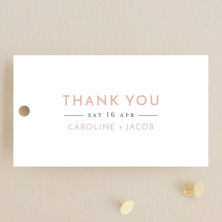 """Love Never Fails"" - Wedding Favor Tags in Blush by Heather Cairl."