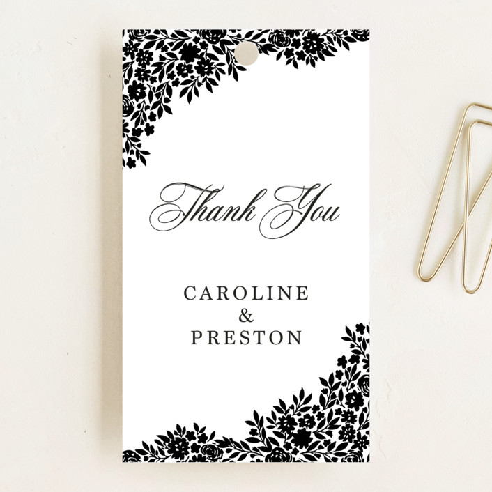 """""""Floral Garden"""" - Wedding Favor Tags in Charcoal by Yaling Hou Suzuki."""
