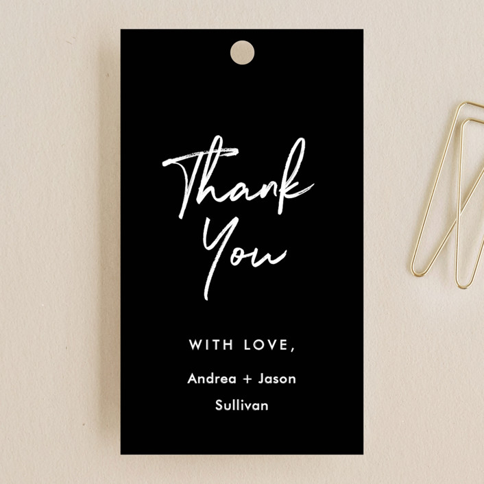 """""""Brushy frame"""" - Wedding Favor Tags in Midnight by Stacey Meacham."""