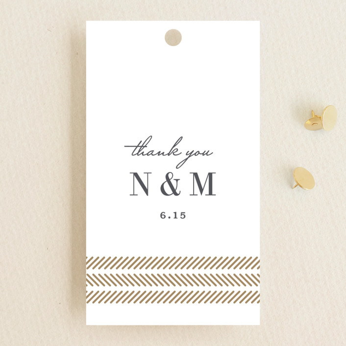 """elegant herringbone"" - Wedding Favor Tags in Gravel by Paper Dahlia."