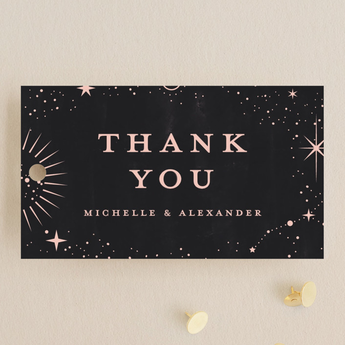 """look at the stars"" - Bohemian Wedding Favor Tags in Midnight by Anastasia Makarova."