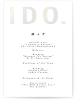 This is a white unique wedding program by Gwen Bedat called Oui with gloss-press printing on signature in standard.