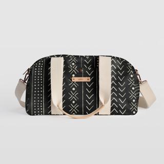 This is a black travel duffel bag by Erin Deegan called mud cloth organic in standard.