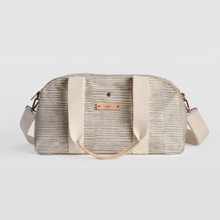 This is a brown travel duffel bag by Alethea and Ruth called Dashed Stripes in standard.