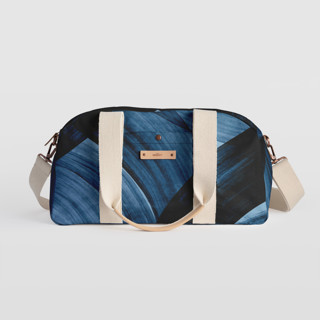 This is a blue travel duffel bag by Iveta Angelova called tides.