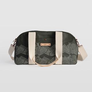 This is a black travel duffel bag by Deborah Velasquez called Savanna Grassland.