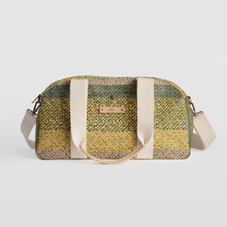This is a yellow travel duffel bag by Bethania Lima called Basic in standard.