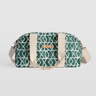 This is a green travel duffel bag by Luz Alliati called Outdoors.