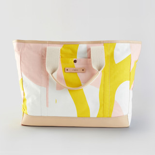This is a yellow weekender tote  by Pati Cascino called Yellow Branches.
