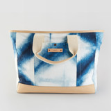 This is a blue weekender tote  by Agnes Pierscieniak called Indigo Diamond.