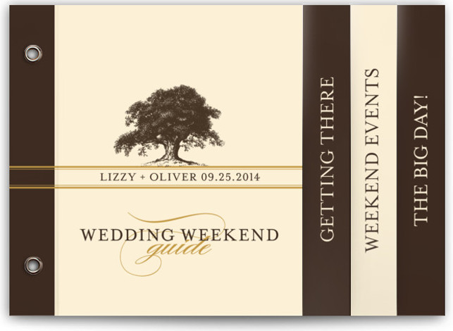 This is a landscape botanical, illustrative, rustic, brown Wedding Announcements by annie clark called Oak Tree with Standard printing on Standard Cover in Minibook™ Card Created for you by Minted's global community of designers, our exclusive Minibook