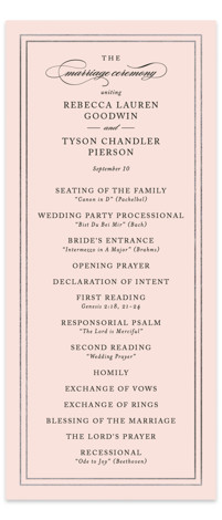 This is a portrait classical, traditional, pink, silver Wedding Programs by Kimberly FitzSimons called Eloquence with Foil Pressed printing on Signature in Classic Flat Card format. Share the details of your wedding ceremony with a beautiful foil pressed wedding program, ...