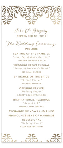 Black Tie Wedding Foil-Pressed Wedding Programs