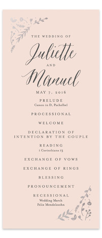 This is a portrait floral, rustic, pink, silver Wedding Programs by carly reed walker called Garden Romance with Foil Pressed printing on Signature in Classic Flat Card format. Share the details of your wedding ceremony with a beautiful foil pressed ...