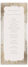 This is a brown unique wedding program by Robert and Stella called Marquis with foil-pressed printing on signature in standard.