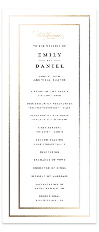 This is a white Wedding Programs by Susan Moyal called Emerald Leaves with Foil Pressed printing on Signature in Classic Flat Card format. Share the details of your wedding ceremony with a beautiful foil pressed wedding program, hand pressed with ...