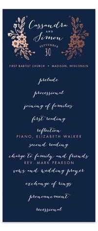 Wildflower Crest Foil-Pressed Wedding Programs