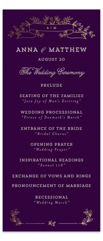 This is a portrait bold typographic, floral, monogrammed, purple, gold Wedding Programs by Chris Griffith called Wedding Bouquet with Foil Pressed printing on Signature in Classic Flat Card format. A sketched floral monogram design with a sweet vintage feel.