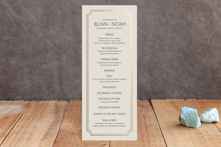 """Modern Classic"" - Formal, Classical Foil-pressed Wedding Programs in Gold by annie clark."