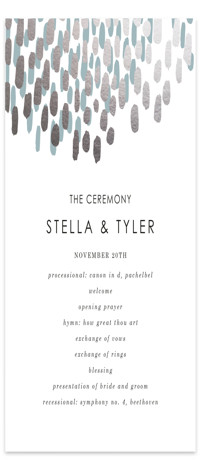 This is a portrait abstract, modern, simple, silver, blue Wedding Programs by Makewells called Modern Dash with Foil Pressed printing on Signature in Classic Flat Card format. A sleek and modern design is set apart with gold foil and a ...