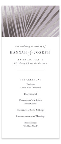 This is a purple Wedding Programs by Robin Ott called Pristine with Foil Pressed printing on Signature in Classic Flat Card format. Asymmetrical palm leaf creates a striking pattern in pearl foil.