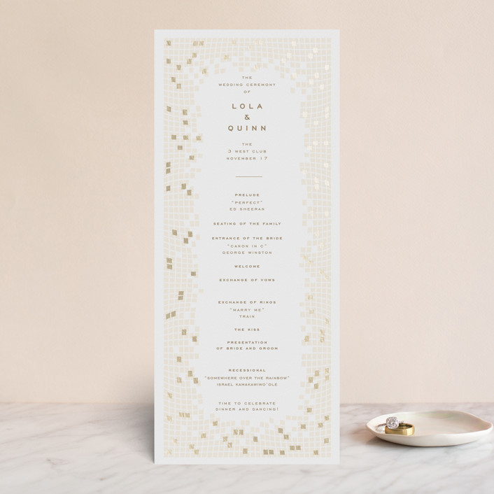 """Mosaic Waves"" - Foil-pressed Wedding Programs in Cream by fatfatin."