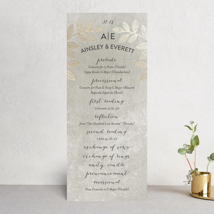 """Folk Filigree"" - Foil-pressed Wedding Programs in Linen by shoshin studio."