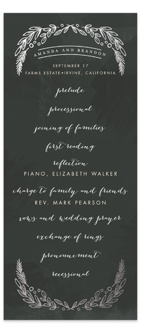 Chalkboard Foil-Pressed Wedding Programs
