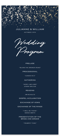 This is a blue, gold Wedding Programs by Juliana Zimmermann called Paint Splash with Foil Pressed printing on Signature in Classic Flat Card format. Share the details of your wedding ceremony with a beautiful foil pressed wedding program, hand pressed ...