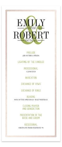 Wed in Type Foil-Pressed Wedding Programs